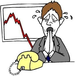 Worried cartoon salesman